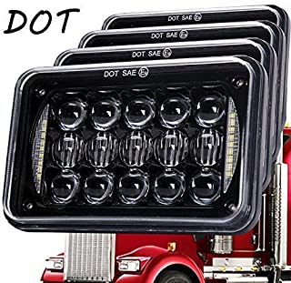Newest Lens 60W 4x6 Inch LED Headlights with DRL for H4651 H4652 H4656 H4666 H6545 Freightliner Kenworth Peterbilt International Volvo Sterling Western Star Mack(Black 4Pcs)