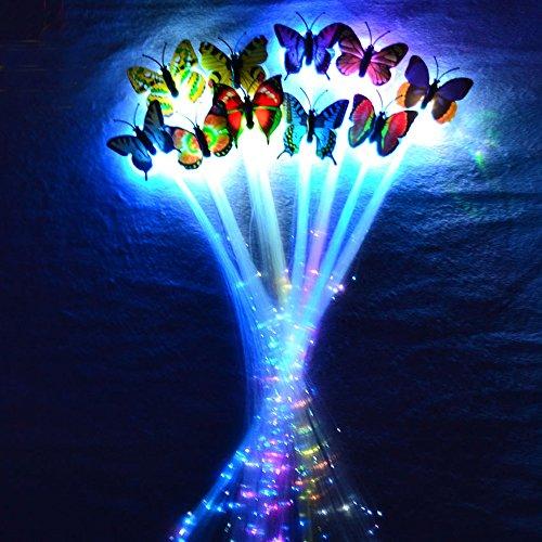 Très Chic Mailanda Lot de 10 tresses lumineuses pour cheveux LED Avec papillons Couleur arc-en-ciel Pour fête/Carnaval