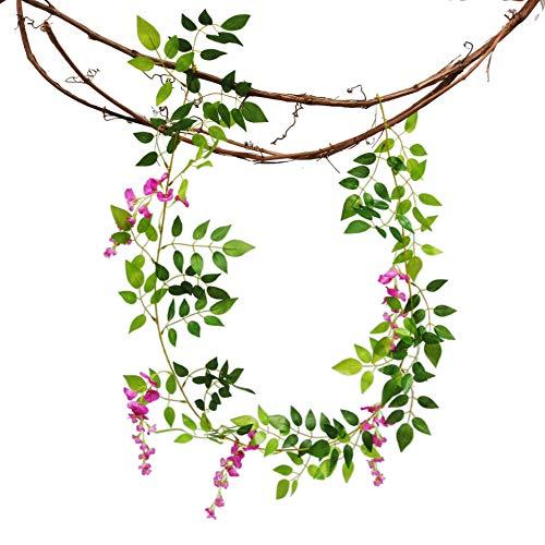 gzadq Tree Vine Decoration Plant Simulation Purple Vine Flower Rattan Home Wedding Decoration. Rose red.