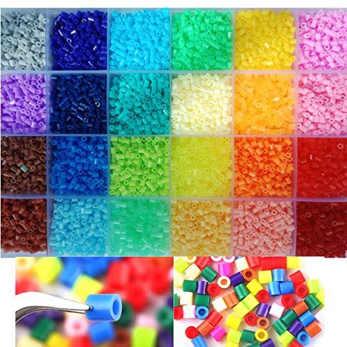 Bügelperlen Set 2,6mm 13,000 Perlen 24 Farben, Bügelperlen Fuse Beads Sicherungsperlen Perler Beads Steckperlen Basteln Box Sortierbox ab 6 Jahre Alt (Nicht für 5mm)