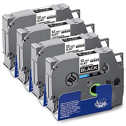 UniPlus Nastro per Etichette Compatibile In sostituzione di Brother Laminato Tape Cassetta TZe-335 TZ 335 12mm per PT H107 1000 H105 1010 Cube PT-P300BT H110 H100LB (Bianco su Nero, 4Pz)