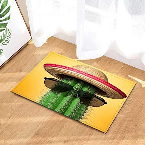 N-brand Alfombra de Puerta Alfombra Interior.Ducha Alfombras de Entrada de baño Alfombras Felpudo,Puerta de Entrada.Entradas de Piso, 40 x 60 cm.Cactus con Gafas De Sol.