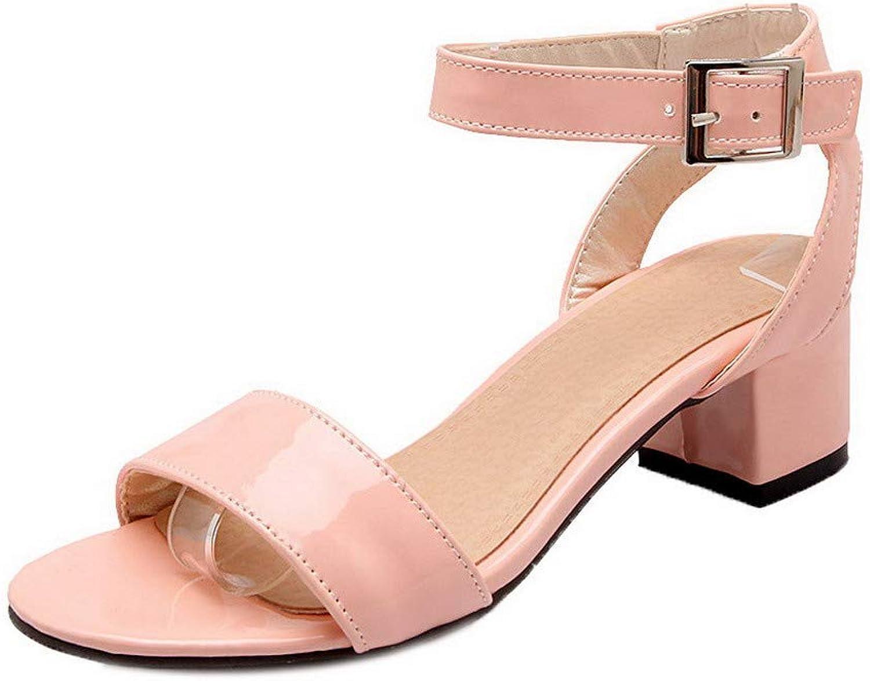 AmoonyFashion Women's Open-Toe Kitten-Heels Assorted color Buckle Sandals,BUTLT007202