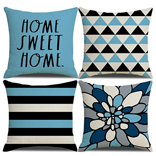 YCHZ Set of 4 Decorative Light Blue Throw Pillow Covers 18 x 18 Inch Modern Geometric Farmhouse Pillow Covers Home Sweet Home Cushion Cover Home Decor for Couch Sofa Bedroom Car(Light Blue)