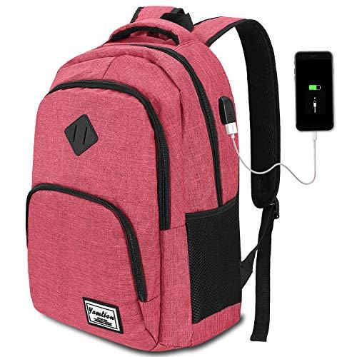 YAMTION Mochila para Portátil con USB Puerto de Carga Mochila de Negocio hasta 15,6 Pulgadas,Mochila Escolar 35L