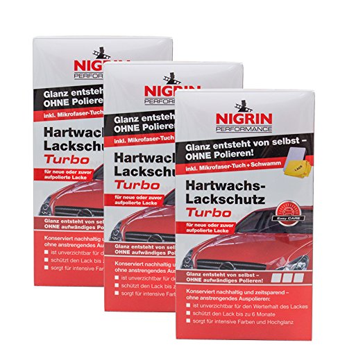 Nigrin 3X 72972 Performance Hartwachs-Lackschutz Turbo 300 ml