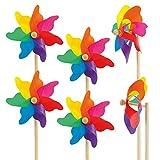 CIM Windspiel - [6er-Set] Moulin 14 Rainbow - UV-beständig und wetterfest - Windrad: Ø14cm, Standhöhe: 32cm - fertig aufgebaut inkl. Standstab