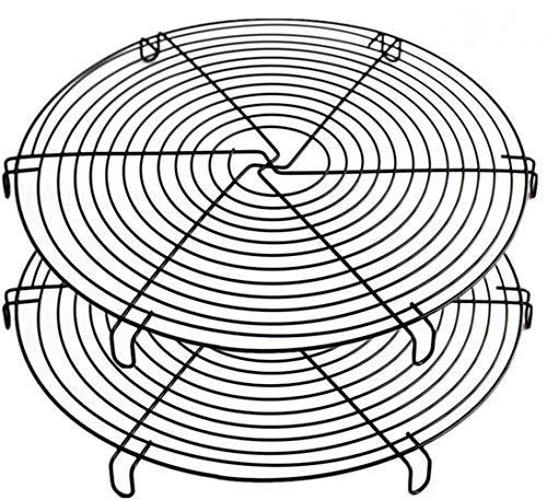 Mokpi Round Cake Cooling Racks Wire Baking Steaming Rack, 12 Inch Diameter, Steamer Rack (Black-2 Pack)