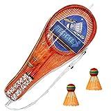 Raquettes de Badminton Set Outil de Formation pour Enfants avec 2 Raquettes Jouet de Sport de Plein air 2 Joueurs Jeu de Pratique pour Enfants Adultes