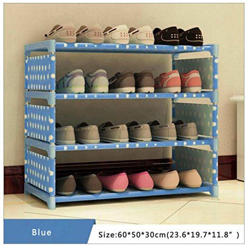 Scaffale per scarpe a torre, con 4 ripiani, in tessuto non tessuto Blue