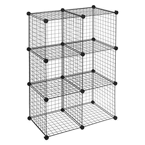 YUEWEIWEI Estante Moderno Minimalista Combinación de Almacenamiento Sala de Estar Bookshelf Bookcase Organizador de Almacenamiento Malla de Hierro Plegable Plegable Armario-6 Grid