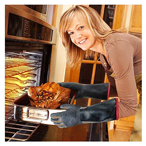 BBQ Gloves 14/18 Inches Double Layer Heat Resistant Barbecue Gloves for Handling Heat Food Right on Your Fryer Kitchen Oven Mitts Hand Protect for Cooking, Grill, Brewing (18 Inches)