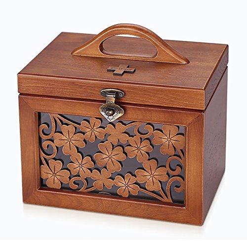 YLLYPX Medicine box Huishoudelijke Houten Sculptuur medicijnkist Metalen snaps EHBO-kit Medische kast Medisch examen doos Nooddoos Drug opbergdoos