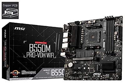 MSI B550M PRO-VDH WIFI Motherboard mATX, AM4, DDR4, M.2, LAN, Wi-FI, USB 3.2 Gen1, Front Type-C, HDMI, DisplayPort, AMD RYZEN 3000 3rd Generation