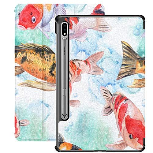 Funda para Samsung Galaxy Tab S7 de 11 Pulgadas 2020, patrón de Carpas Koi, Carcasa Delgada de Tres Pliegues, con activación/Reposo automático para el Modelo de Lanzamiento 2020 SM-T870 SM-T875