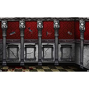 Sumind Halloween Gothic Backdrop Decoration Halloween Photography Background Gothic Mansion Room Scene Setters Banner Halloween Haunted House Party Decoration?72.8 x 43.3 Inch