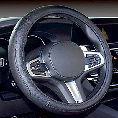 Car Steering Wheel Cover Sports Style Durable Microfiber Leather Anti-Slip Stitching Design Universal 15 inch / 38 cm (Black)