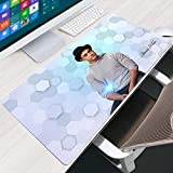 LJUKO Mouse Mat White Indian Actor Amir 31.5x15.7 inch Gaming Mouse Pad XXL, Mousepad with Anti-Skid Rubber Base & Stitched Anti-Fray Edges,Desk Pad,Great for Laptop Computer & PC