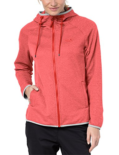 Jack Wolfskin Damen TONGARI Hooded Fleecejacke, Fiery red, M