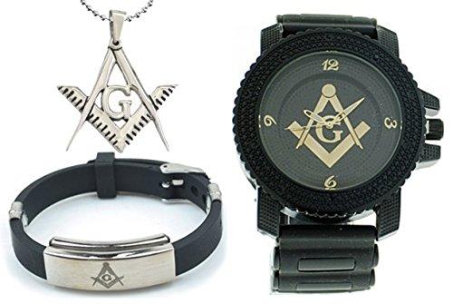 3 Piece Jewelry Set - Freemason Pendant, Bracelet & Masonic Watch. Black Silicone Band Free Masons Numerical Black Face Gold Tone Dial Watch