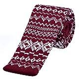 DonDon schmale Strickkrawatte 5 cm - Norweger Muster Weihnachtskrawatte Motiv