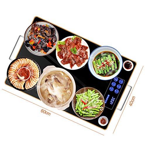 Warmhalteplatte Elektrisch, Tellerwärmer Warmhalteplatten Buffetwärmer Wärmeplatte Elektrisch für Speisen, Touchscreen + Glasscheibe, 60×40cmblack