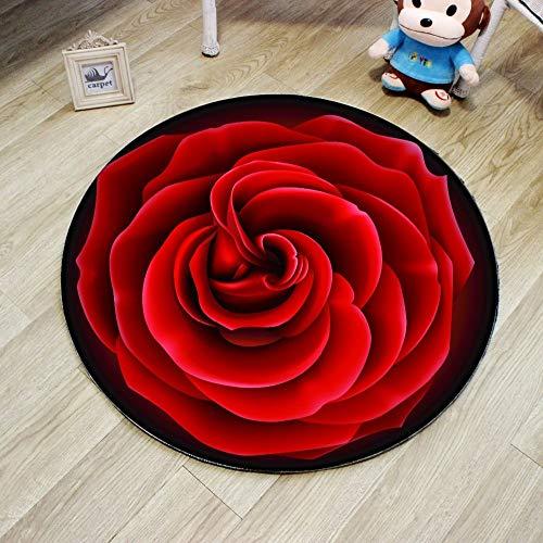 JIELUG Hohe Qualität 3D Rote Rose Runde Teppich Durchmesser 60/80/100/120 / 160 cm Polyester Wohnzimmer Teppich Stuhl Teppich Badezimmer Matte Dekoration, 120 cm