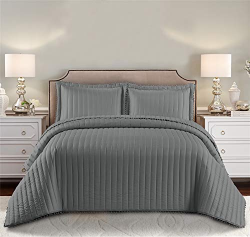 Prime Linens 3psc Luxury Pom Pom Strip Quilted Bedspread Comforter Luxury Bedding with 2 Pillow Shams (Grey, Double)
