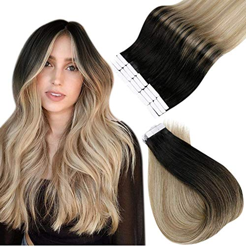 Esayouth Humains Natural Cheveux Tape in Hair Extensions de Cheveux Invisible Bresilien Couleur Off Black to Ash Brown mix with Blonde Human Hair Skin