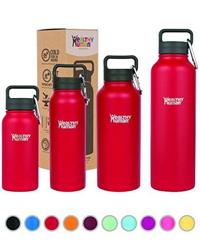 Healthy Human Water Bottles, BPA Free Sports Travel Stainless Steel Insulated Water Bottle Stein 32oz Red Hot