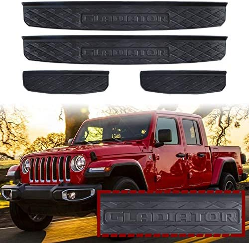 Adust Door Sill Guards Kit Compatible 2019-2021 Jeep Gladiator JT Accessories Parts, Door Entry Guard Kit, Plate Cover with Gladiator Logo (Black, 4 pcs) (Black)