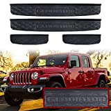 Adust Door Sill Guards Kit Compatible 2019-2020 Jeep Gladiator JT Accessories Parts, Door Entry Guard Kit, Plate Cover with Gladiator Logo (Black, 4 pcs) (Black)