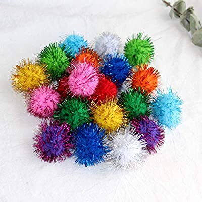 Assorted Color Sparkle Balls for Cats,My Cat's All Time Favorite Toy,1.5 Inches Large Pom Pom Cat Toy,20 Pack from Loving Basso