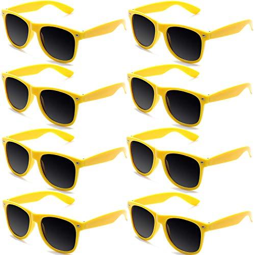 FSMILING 8 Paare Neon Party Sonnenbrille Set 80er Retro Klassisch Partybrillen Für Kinder Herren Damen(Gelb)