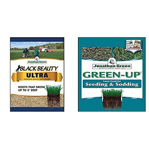 Jonathan Green 10323 Black Beauty Ultra Mixture, 25-Pound & Jonathan Green & Sons, 11543 Green Up 12-18-8, Seeding & Sodding Lawn Fertilizer, 15000 sq. ft.