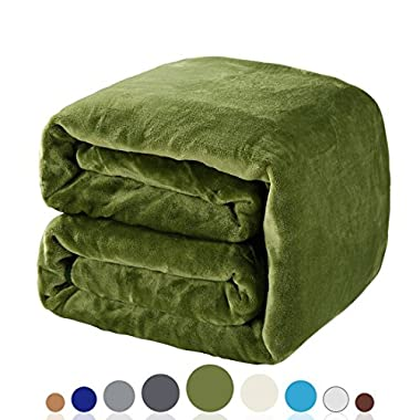 Balichun Luxury 330 GSM Fleece Blanket Super Soft Warm Fuzzy Lightweight Bed or Couch Blanket Twin/Queen/King Size(Queen,Green)
