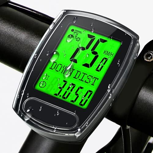IPSXP Ciclocomputador para Bicicleta, velocímetro por Cable y odómetro computadora para Bicicleta a Prueba de Agua, con Pantalla LCD retroiluminada,suspensión activación automática, batería incluida