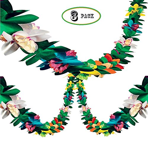 BUSOHA (3Pack) Tissue Flower Garland - 12 Feet Long Tropical Multicolored Paper Garland Flower Banner for Tropical Birthday Baby Shower Wedding Party Decorations Supplies