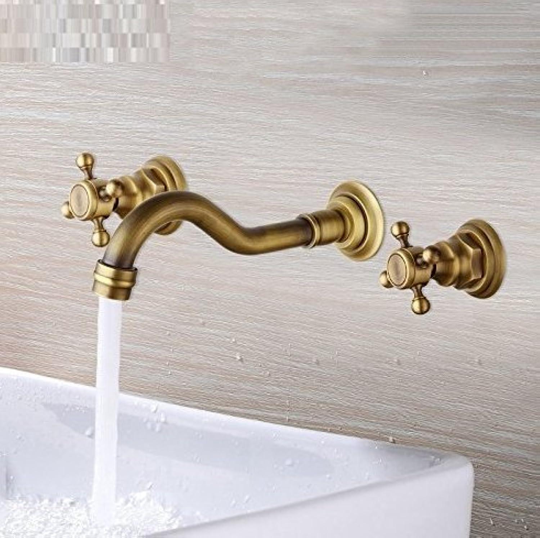 Bathroom Faucet Double Handles Bathtub Basin Sink Mixer Tap 3 Pcs Antique Brass Faucet Set Brand New Deck Mounted