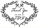 """Timbro in gomma tagliata al laser, personalizzabile, con scritta """"Thank you"""", per matrimoni Con decorazione a forma di cuore formata da rami di foglie."""