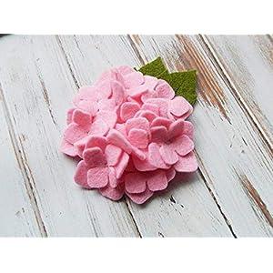 2 Hydrangea Wool Felt Flowers Cotton Candy Pink