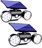 Upgrade Solar Motion Sensor Lights Outdoor, Super Bright LED Lamp IP65 Waterproof 360° Adjustable Solar Powered Wall Light Dual Head Spotlight Flood Security Lights for Yard Garage Patio Porch, 2 Pack
