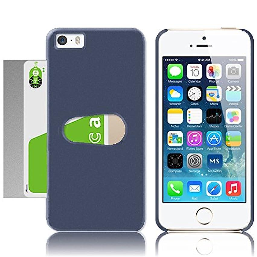 魂プレビュー革新MS factory iPhone SE ケース ICカード スロットイン iPhoneSE 5S 5 カバー 電波干渉防止 シート 付き カード 収納 片手で簡単出し入れ ネイビー 紺 MS-IP5SLOTIN-NV