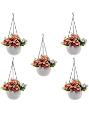 Tex Homz Hanging Baskets Rattan Waven Flower Pot Plant Pot with Hanging Chain for Houseplants Garden Balcony Decoration 7 Inch