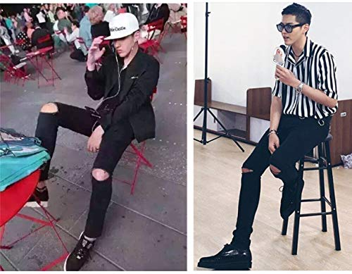 lodufnxisaliLONG Heren Slanke Voeten Zwart Ripped Jeans Getij Mode Casual Stars Dezelfde Straat Dans Mannen Broek Mode/A/Twintig/Acht