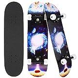 """Photo Gallery hikole 31 """"x 8"""" completo skateboard per principianti, adatto a bambini, adolescenti, principianti e professionisti, 7 strati di acero double kick deck concavo skate board (pianeta)"""