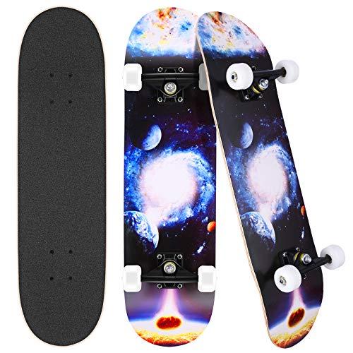 Hikole 31 'x 8' Completo Skateboard per Principianti, Adatto a Bambini, Adolescenti, Principianti e Professionisti, 7 Strati di Acero Double Kick Deck Concavo Skate Board (Pianeta)