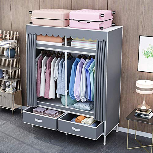 N/Z Home Equipment Canvas Wardrobe Portable Clothes Closet Wardrobe with Hanging Rack Storage Organizer with 2 Drawers (Color : D2 Size : 115x45x168cm)