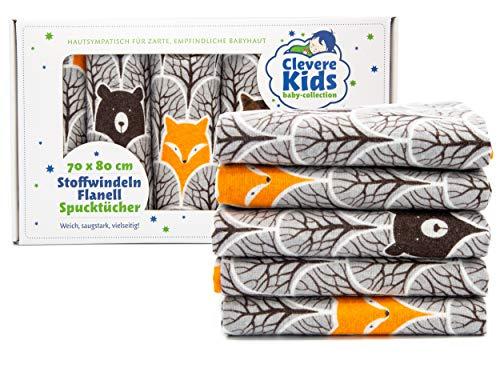 ClevereKids | Moltontücher Flanellwindeln Spucktücher | 5er-Pack | 75 x 80 | Tiere und Sterne | OEKO-TEX | Kuschelqualität (Fuchs und Bär)