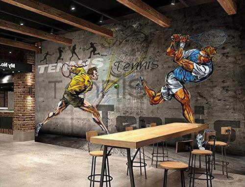 3D Tennis Sports Gym Wallpaper Wandbild | Selbstklebende Tapete Feature Wanddekoration Foto Wandbild DIY | Vinyl (Peel & Stick, abnehmbar)-200cmx140cm